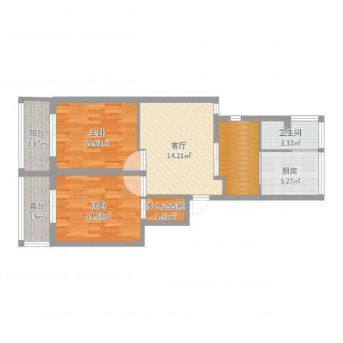 静安紫苑2室1厅1卫1厨77.00㎡户型图