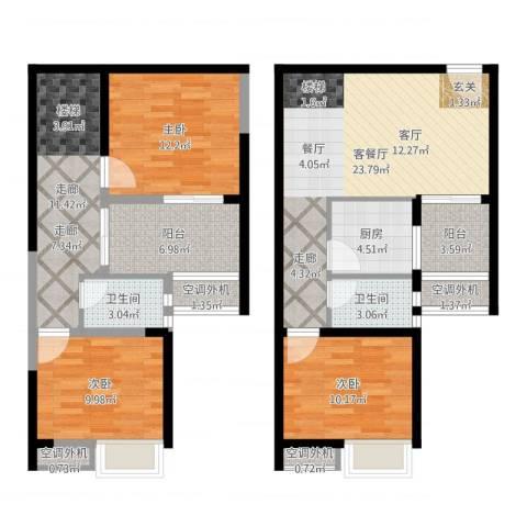 LOFT阳光公寓3室2厅2卫1厨116.00㎡户型图