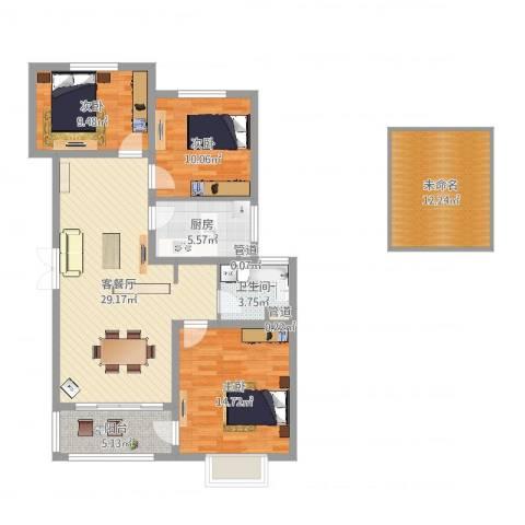 广泰瑞景城3室2厅1卫1厨128.00㎡户型图