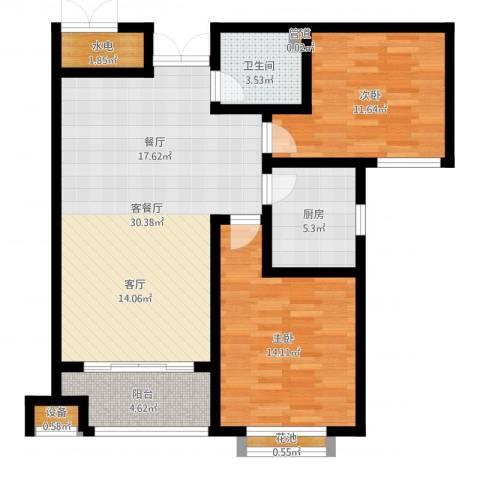 御江景城2室2厅1卫1厨91.00㎡户型图