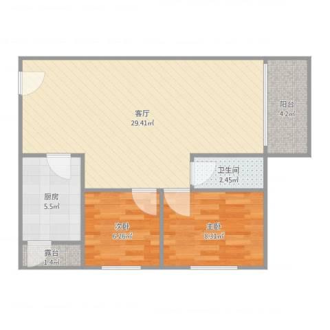 宇翠庭2室1厅1卫1厨78.00㎡户型图