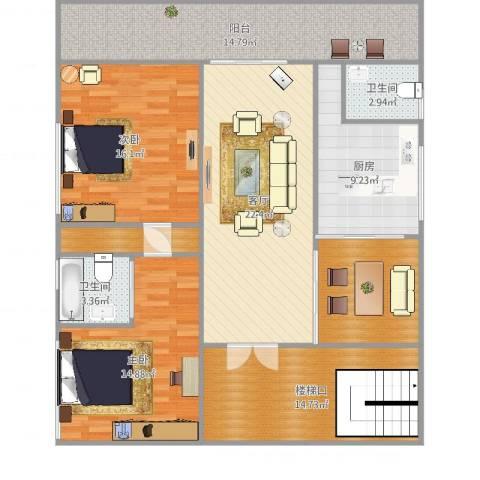 白毛小区11~22号2室1厅2卫1厨136.00㎡户型图