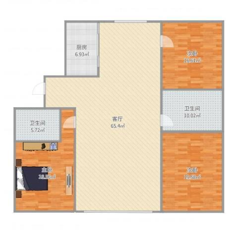 丽华甲第苑3室1厅2卫1厨179.00㎡户型图