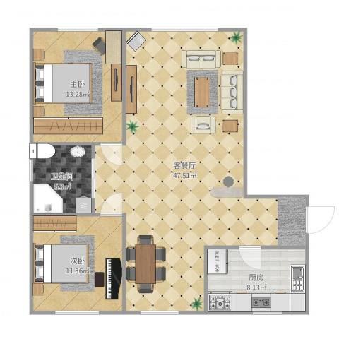 五六街2室2厅1卫1厨107.00㎡户型图