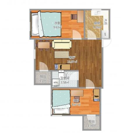 海上钓鱼台2室1厅1卫1厨43.00㎡户型图