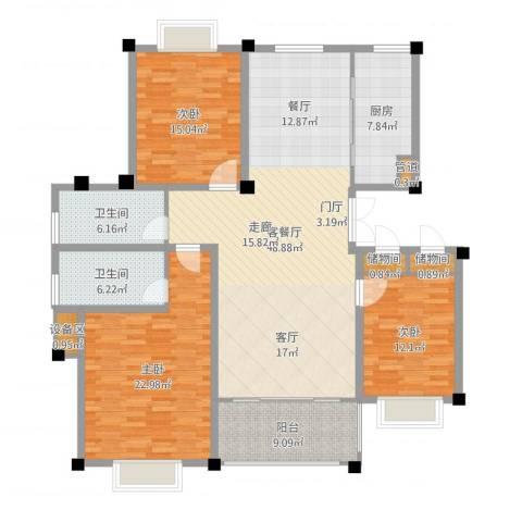 滨河阳光3室2厅2卫1厨164.00㎡户型图