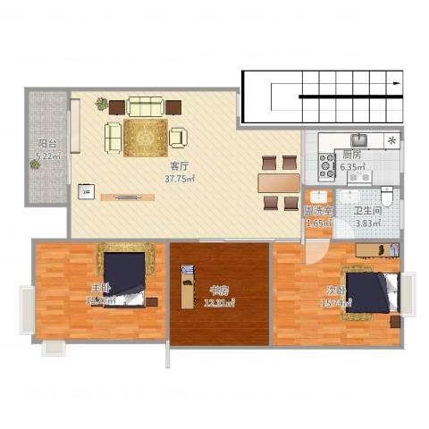 学府壹号3室3厅1卫1厨131.00㎡户型图