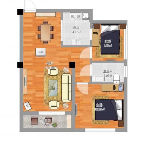 光谷麦郡2室1厅1卫1厨64.00㎡户型图