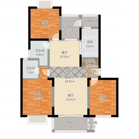 金沙嘉年华3室2厅3卫1厨133.00㎡户型图
