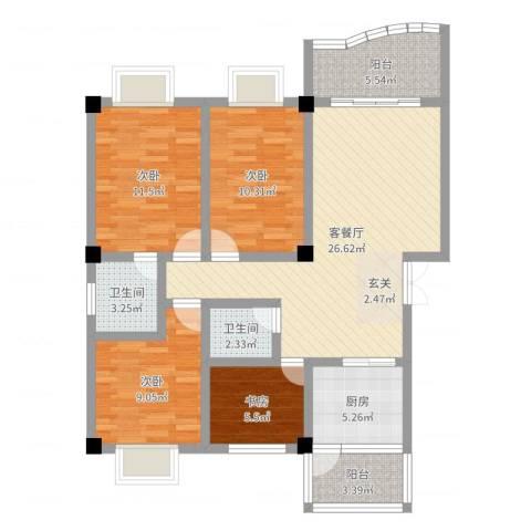 春巢尚苑4室2厅2卫1厨103.00㎡户型图