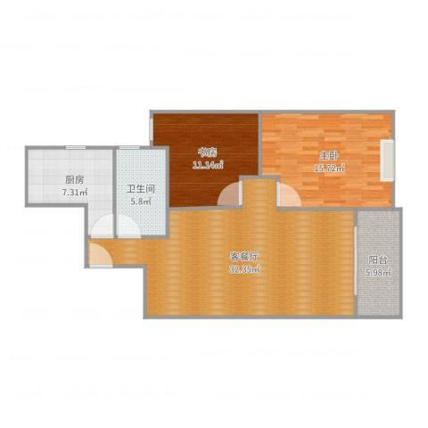 和泰玫瑰园2室2厅1卫1厨98.00㎡户型图