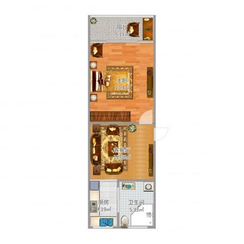 天申小区1室2厅1卫1厨55.00㎡户型图