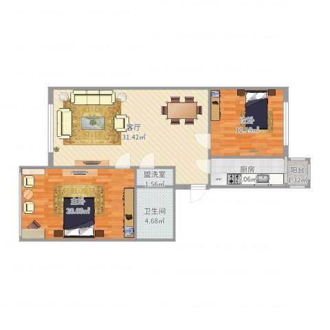 宣府第一城2室3厅1卫1厨95.00㎡户型图