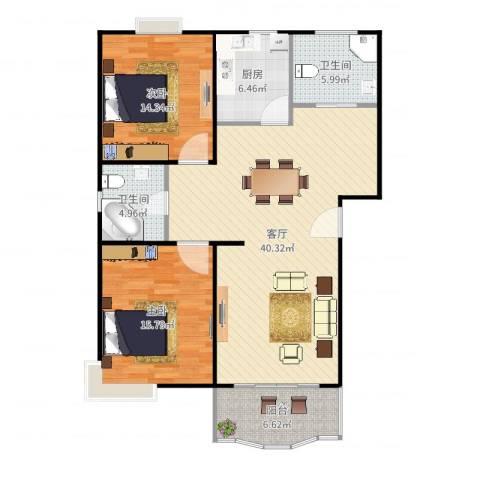 乾宁园2室1厅2卫1厨118.00㎡户型图