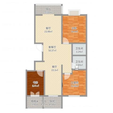阳光花园3室2厅2卫1厨127.00㎡户型图