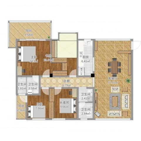 华盛世纪新城2室2厅4卫1厨147.00㎡户型图