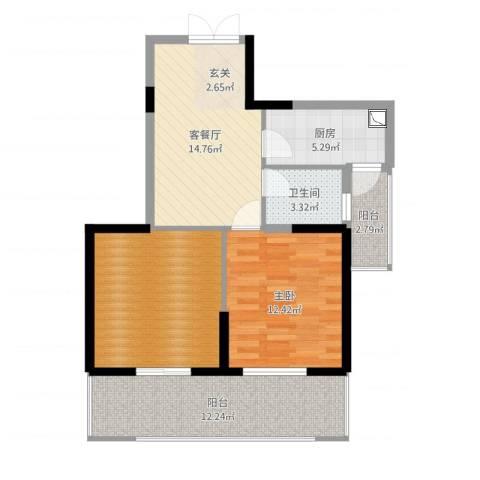 新加坡花园城1室2厅1卫1厨81.00㎡户型图