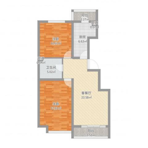 万通时代广场2室2厅1卫1厨89.00㎡户型图