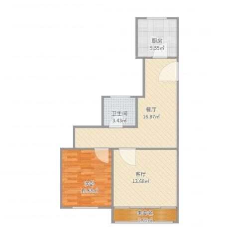 天极盛宅花园1室2厅1卫1厨72.00㎡户型图