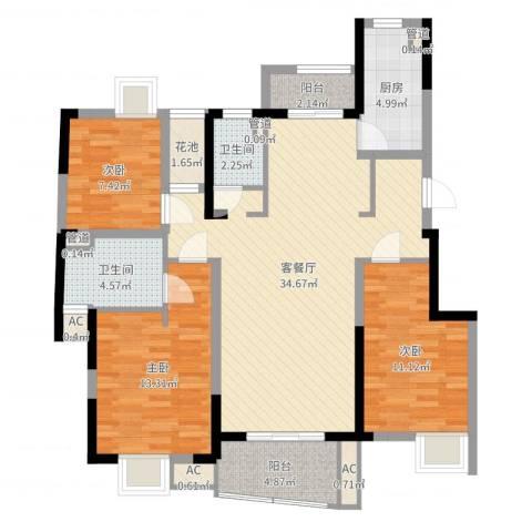大华锦绣华城公园新纪3室2厅2卫1厨111.00㎡户型图