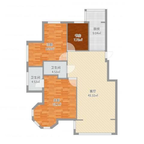 漫步巴黎3室1厅2卫1厨135.00㎡户型图