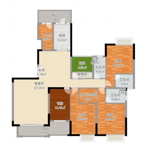 中海万锦东苑4室2厅3卫1厨228.00㎡户型图