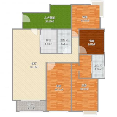 保利花园二期4室1厅2卫1厨164.00㎡户型图