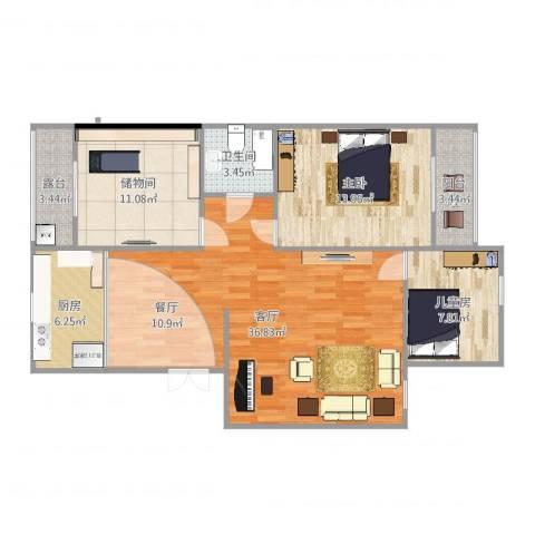 杏园小区2室1厅1卫1厨108.00㎡户型图