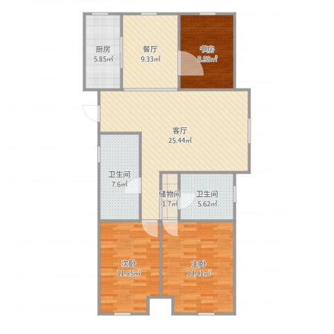 曦城花语3室2厅2卫1厨113.00㎡户型图