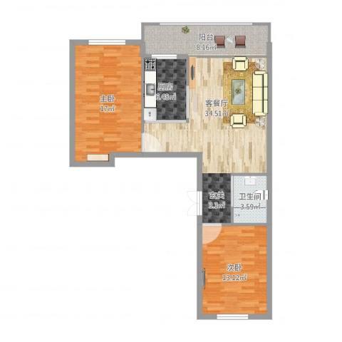 峰尚福成二期2室2厅1卫1厨93.00㎡户型图