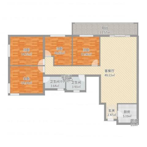 吉利家园4室2厅2卫1厨157.00㎡户型图