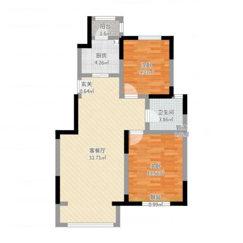 宝境檀香2室2厅1卫1厨93.00㎡户型图