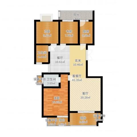 鑫远湘府华城3室2厅2卫1厨130.00㎡户型图