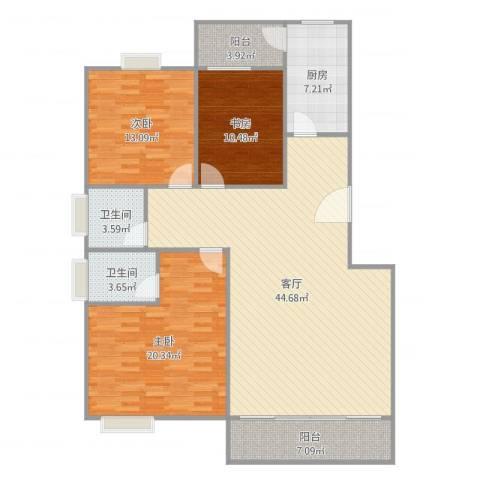 丽日玫瑰3室1厅2卫1厨143.00㎡户型图