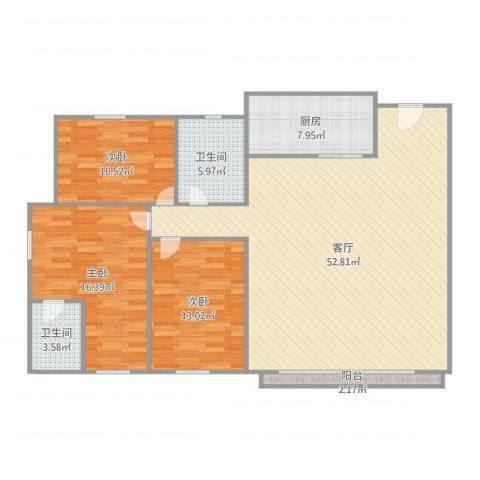 丽景花园3室1厅2卫1厨141.00㎡户型图