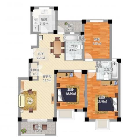 山海・丽景苑3室2厅2卫1厨107.00㎡户型图