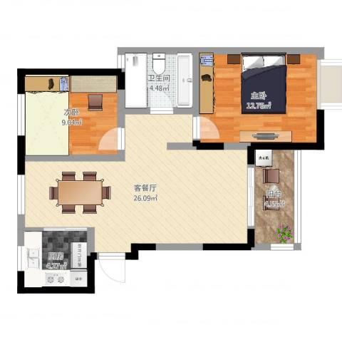 新城域83平2室2厅1卫1厨76.00㎡户型图