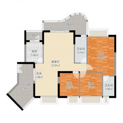 波海蓝湾三期3室2厅2卫1厨134.00㎡户型图