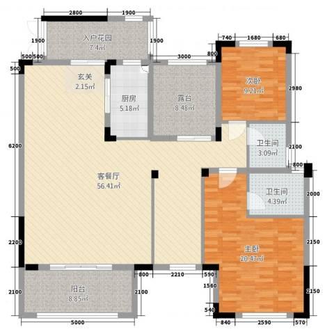 振业城2室2厅2卫1厨186.00㎡户型图