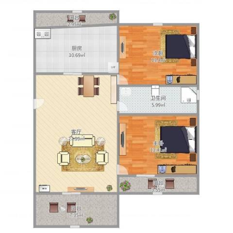 和源祥邸珑庭2室1厅1卫1厨107.00㎡户型图