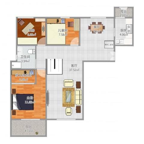 天都首郡3室1厅1卫1厨100.00㎡户型图