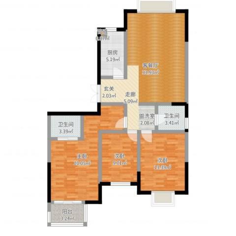 万和源居3室2厅2卫1厨115.00㎡户型图