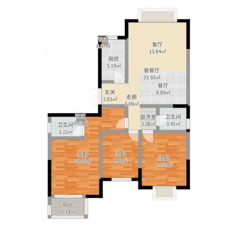 万和源居3室2厅2卫1厨114.00㎡户型图