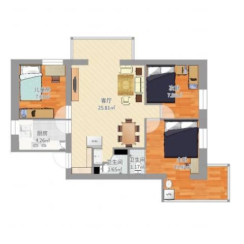 安苑北里3室1厅2卫1厨78.00㎡户型图