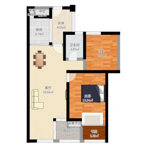 蔚兰星城3室1厅4卫1厨90.00㎡户型图