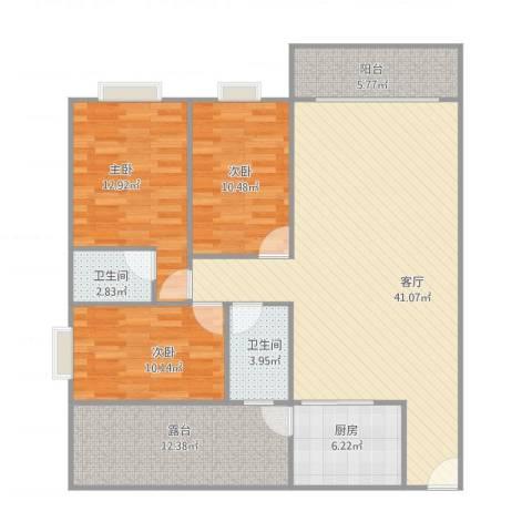 乐豪居3室1厅2卫1厨142.00㎡户型图