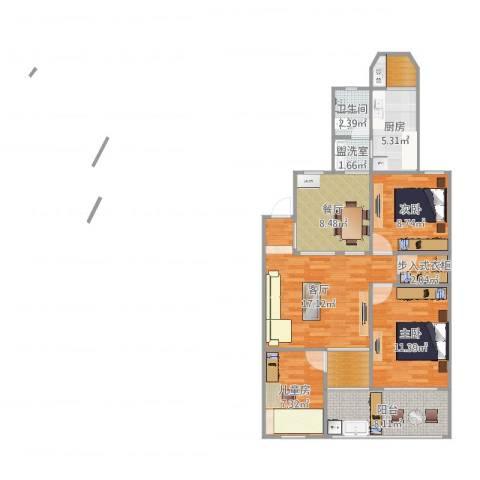 明月花园3室4厅1卫1厨96.00㎡户型图