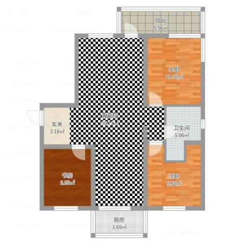 檀香湾6号楼3室2厅1卫1厨105.00㎡户型图