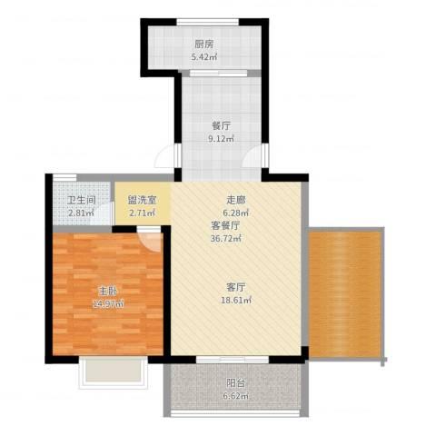 金海岸花园1室2厅1卫1厨96.00㎡户型图