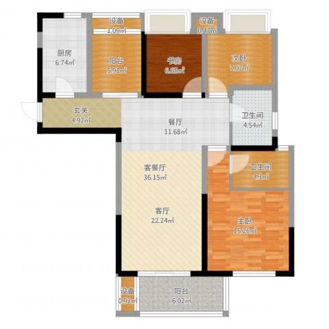 高成莱茵郡3室2厅2卫1厨119.00㎡户型图